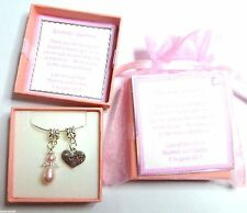 Flower Girl Heart & Guardian Angel Necklace made with Swarovski Pearl Elements