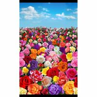 Roses Sky Digital Panel 24'' x 44'' Cotton Fabric by Elizabeth's Studio