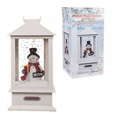 SNOWMAN LED LIGHT UP LANTERN WITH SOUND TRICKLING SNOW EFFECT CHRISTMAS DECOR UK