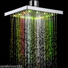 "8"" Automatic Changing 7 Color Square Rain Bathroom RGB LED Light Shower Head NEW"