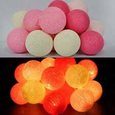 20 LED COTTON BALL STRING LIGHTS PARTY FAIRY ROOM CHRISTMAS WEDDING DECOR PINK
