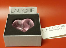 Lalique Pink Crystal Entwined Knotted Heart Paperweight New in Box with Papers