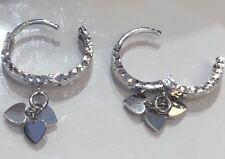 18K White Gold Drop Hearts Dangle Hoop Earrings Diamond Cut Women Baby Girl 2.6g