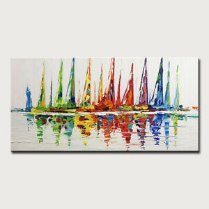 Mintura Handmade Oil Painting On Canva Abstract Sailing Boat on The Sea Wall Art