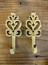 "2 YELLOW HEART SWIRL WALL HOOKS 5"" antique style distressed shabby chic key coat"