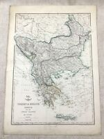 Antique Map Turkey Greece Ionian Islands Old Hand Coloured 19th Century