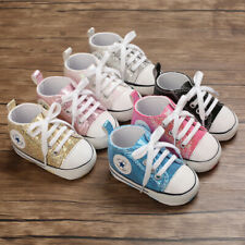 Baby Boy Girl Crib Shoes Infant First Step Lace Trainer Child Paillette Sneakers