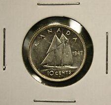 1947 PLAIN CANADA GEORGE VI SILVER DIME - 10 CENTS - UNC.