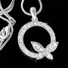 w Swarovski Crystal Eternity Circle of Love Life Butterfly Pendant Necklace Xmas