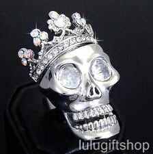 18K WHITE GOLD PLATED CROWN SKULL RING USE SWAROVSKI CRYSTALS FREE SIZE BLING