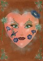 HALLOWEEN COSTUME  MASK GARDEN FLOWERS HEART MASK GREEN EYES MINIATURE PRINT