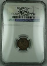 1836 G. Britain Britannia Silver Groat 4P Coin William IV NGC AU Det Env Dam AKR