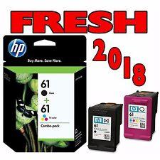 HP 61 BLACK & TRI-COLOR INKJET COMBO - GENUINE, NEW - FRESH 2018 DATES