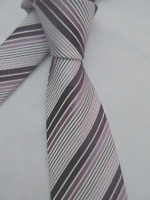 GEORGE PINK PURPLE STRIPED 3.5 INCH POLYESTER NECK TIE