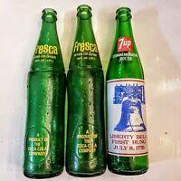 Fresca 7up Empty Pop Bottle LOT Green Glass VTG 16 oz Coca Cola Liberty Bell