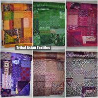 Vintage Quilt Old Patola Indian Silk Sari Kantha Quilted Patchwork Bedspread