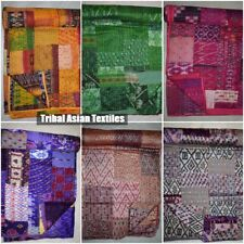 Vintage Bedspread Quilt Old Patola Indian Silk Sari Kantha Quilted Patchwork
