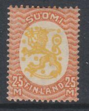 Finland - 1927, 25m Yellow & Vermilion stamp - Wmk Swastika - L/M - SG 244
