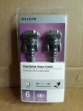 Belkin VGA/SVGA Video Cable 6 Feet New Video HDDB15 Male to Male PC to Monitor