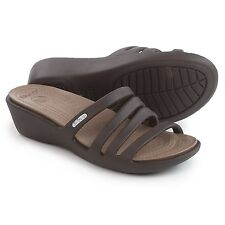 NWT Crocs Rhonda Wedge Sandals, Women's Size 8 Espresso FREE USA SHIPPING