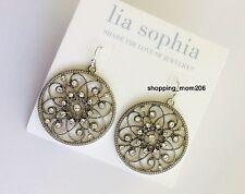 """Lia Sophia """"Memoir"""" Silver Tone with Crystals Earrings"""