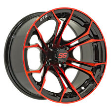 Set of 4 - GTW Spyder 12 inch Black and Red Golf Cart Wheel With 3:4 Offset