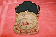 Antique Sphinx Head Embroidery Purse Hallmark H & S Star of David Made in France