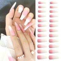 DIY Matte Gradient Pink Full Cover False Nail Manicure Ballerina Fake Nails