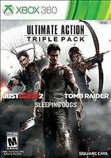 Ultimate Action Triple Pack Just Cause2, Tomb Raider & Sleeping Dogs  Xbox 360