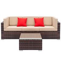 Patio Garden Rattan Furniture Outdoor & Indoor Cushioned Coffee Table Sofa Brown