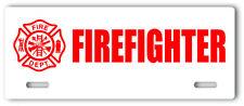 Firefighter License Plate Topper aluminum novelty fire department sign