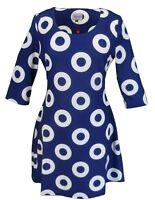 Ladies 60s Retro Mod Vintage Blue & White Circle Dress