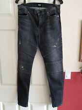 Hudson Jeans, Womens 31,Brooklyn Moto Super Skinny, Dark Grey, Destroyed