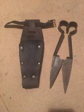 Vintage Henry Boker Shears In Leather Holder