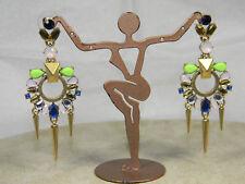 Green Blue Deco Design Long J.Crew Rhinestone Dangle Earrings