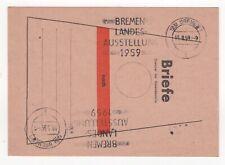 1959 GERMANY Cover BREMEN STATE EXHIBITION Slogan POSTCARD