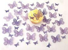 48 Edible Textured Purple Heart Detail Butterflies Pre Cut Wafer Cupcake Toppers