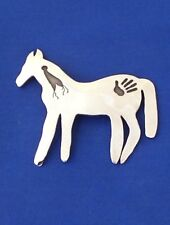"Southwestern Sterling Silver Horse Pin Brooch, Signed PAR & Hallmarked, 3""x3"""