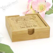 Set of 4 Engraved Square Bamboo Mothers Day Coaster Gift for Mum Nan Grandma