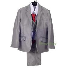 5pcs Outfit Suit Formal Occasion Wedding Page Boy Wear Silver Grey Sz 1-6 ST036A