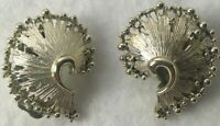 Vintage Lisner Earrings clip on  Silver Tone Art Deco Chunky textured fashion