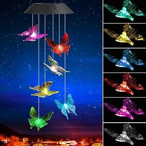 Solar Windchime LED Color Changing Wind Chime Butterfly Outdoor Indoor Decor New