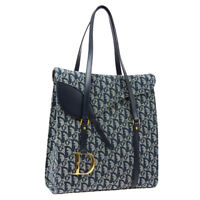 Christian Dior Trotter Pattern Saddle Hand Tote Bag BO B 0112 Navy Canvas A52213