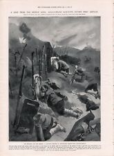 OLD 1905 PRINT PORT ARTHUR JAPANESE CUTTING BARBED WIRE MANTLET AND SHEARS  b7