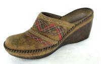 Clarks Artisan Shoe Sz 6 Distressed Brown Leather Clogs Mules Wedge Heel Boho
