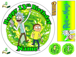 RICK AND MORTY INSPIRED PERSONALISED EDIBLE ICING CAKE TOPPER UP TO A3