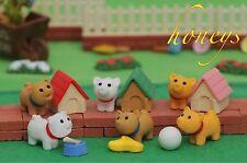 Puzzle Animal Erasers Mini Assortment of DOG with HOUSE BONE TOY Set of Six (6)
