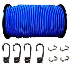 Expanderseil Gummiseil Gummileine Planenseil LKW + Spiralhaken + Seilklemme Blau