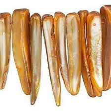 K10D6265CL Talon Shark Tooth Bead Mop Mother of Pearl Yellow Gold Orange Large