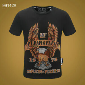 PHILIPP PLEIN Black Eagle Beading Men Casual T-shirt #P99142 M-3XL